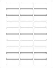 "Sheet of 2.125"" x 0.9"" Standard White Matte labels"