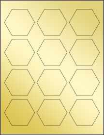 """Sheet of 2.5"""" x 2.1651"""" Gold Foil Laser labels"""