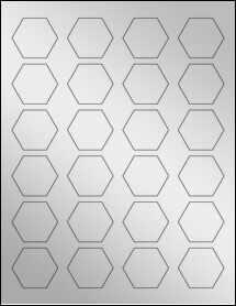 """Sheet of 1.67"""" x 1.45"""" Silver Foil Inkjet labels"""