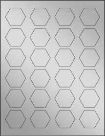 "Sheet of 1.67"" x 1.4463"" Weatherproof Silver Polyester Laser labels"
