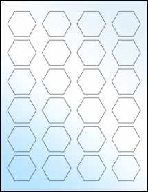 """Sheet of 1.67"""" x 1.4463"""" White Gloss Inkjet labels"""