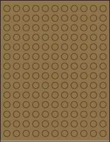 """Sheet of 0.5"""" Circle Brown Kraft labels"""