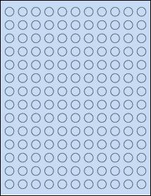"""Sheet of 0.5"""" Circle Pastel Blue labels"""