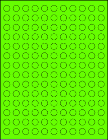 "Sheet of 0.5"" Circle Fluorescent Green labels"