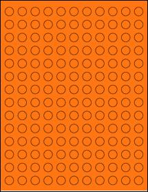 "Sheet of 0.5"" Circle Fluorescent Orange labels"