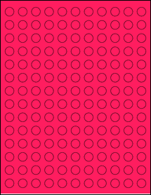 """Sheet of 0.5"""" Circle Fluorescent Pink labels"""