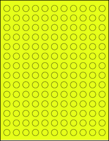 """Sheet of 0.5"""" Circle Fluorescent Yellow labels"""
