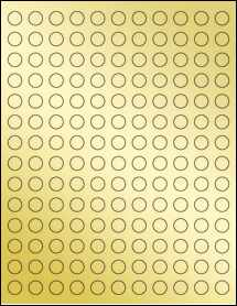 "Sheet of 0.5"" Circle Gold Foil Laser labels"