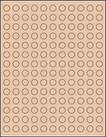 "Sheet of 0.5"" Circle Light Tan labels"