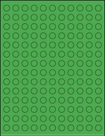 "Sheet of 0.5"" Circle True Green labels"