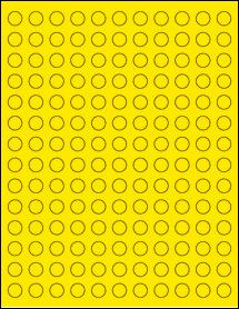 "Sheet of 0.5"" Circle True Yellow labels"