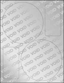 """Sheet of 5.5"""" Circle Void Silver Polyester labels"""