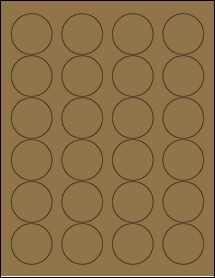"""Sheet of 1.67"""" Circle Brown Kraft labels"""