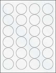 "Sheet of 1.67"" Circle Clear Matte Inkjet labels"