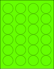 "Sheet of 1.67"" Circle Fluorescent Green labels"