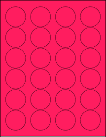 """Sheet of 1.67"""" Circle Fluorescent Pink labels"""