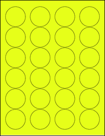 """Sheet of 1.67"""" Circle Fluorescent Yellow labels"""