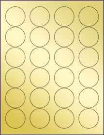 """Sheet of 1.67"""" Circle Gold Foil Inkjet labels"""