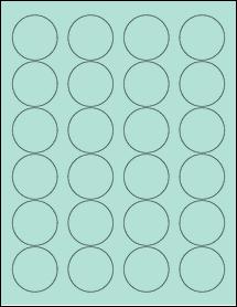 "Sheet of 1.67"" Circle Pastel Green labels"