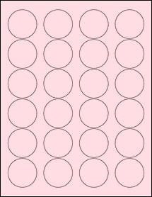 """Sheet of 1.67"""" Circle Pastel Pink labels"""