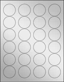 "Sheet of 1.67"" Circle Silver Foil Laser labels"