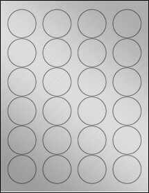 "Sheet of 1.67"" Circle Weatherproof Silver Polyester Laser labels"
