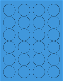 "Sheet of 1.67"" Circle True Blue labels"