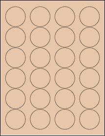 "Sheet of 1.67"" Circle Light Tan labels"