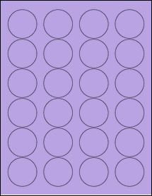 "Sheet of 1.67"" Circle True Purple labels"