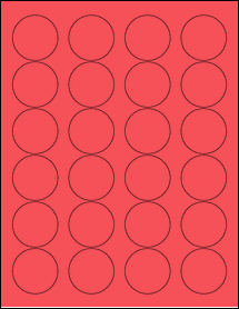"""Sheet of 1.67"""" Circle True Red labels"""