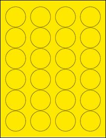 "Sheet of 1.67"" Circle True Yellow labels"