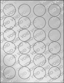 "Sheet of 1.67"" Circle Void Silver Polyester labels"
