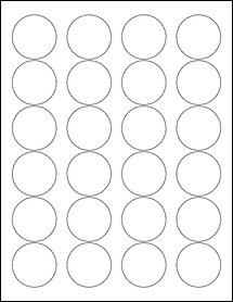 "Sheet of 1.67"" Circle Weatherproof Gloss Inkjet labels"