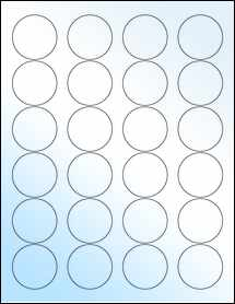 "Sheet of 1.67"" Circle White Gloss Laser labels"