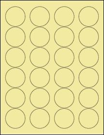 """Sheet of 1.67"""" Circle Pastel Yellow labels"""