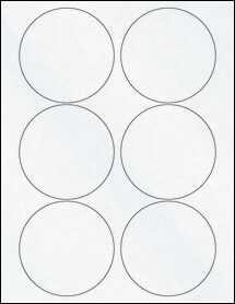 "Sheet of 3.5"" Circle Clear Matte Inkjet labels"