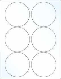 "Sheet of 3.5"" Circle Clear Gloss Inkjet labels"