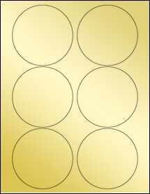 """Sheet of 3.5"""" Circle Gold Foil Laser labels"""
