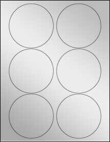 "Sheet of 3.5"" Circle Silver Foil Laser labels"