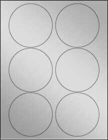 "Sheet of 3.5"" Circle Weatherproof Silver Polyester Laser labels"