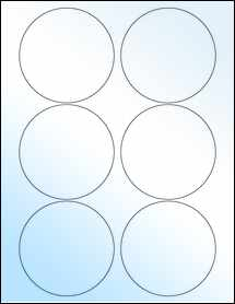 "Sheet of 3.5"" Circle White Gloss Inkjet labels"