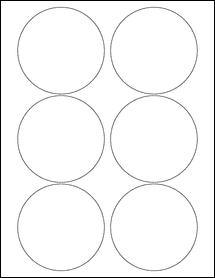 "Sheet of 3.5"" Circle Weatherproof Matte Inkjet labels"