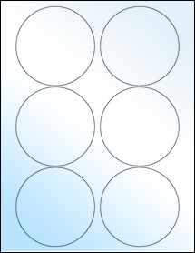"Sheet of 3.5"" Circle White Gloss Laser labels"
