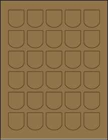 """Sheet of 1.25"""" x 1.375"""" Brown Kraft labels"""