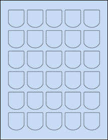 "Sheet of 1.25"" x 1.375"" Pastel Blue labels"
