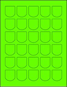 """Sheet of 1.25"""" x 1.375"""" Fluorescent Green labels"""