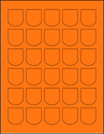 "Sheet of 1.25"" x 1.375"" Fluorescent Orange labels"