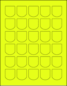 "Sheet of 1.25"" x 1.375"" Fluorescent Yellow labels"