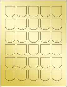 """Sheet of 1.25"""" x 1.375"""" Gold Foil Inkjet labels"""