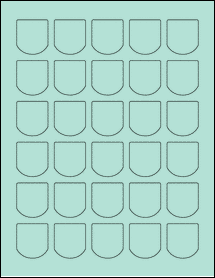 "Sheet of 1.25"" x 1.375"" Pastel Green labels"